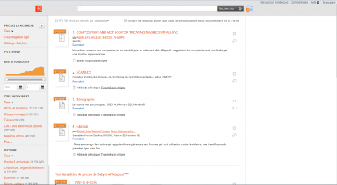Page de recherche BabylonePLUS